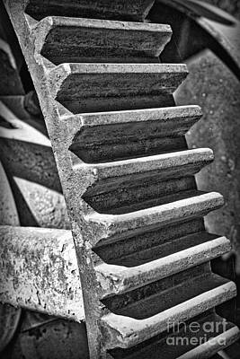 Photograph - Metal Cogs Black And White by Carol Groenen