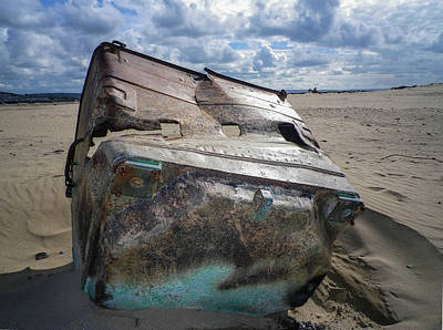 Photograph - Metal Container Washed Up On North Devon Beach by Richard Brookes