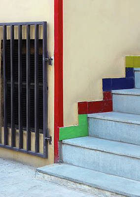 Photograph - Metal Gate And Staircase Lines by Prakash Ghai