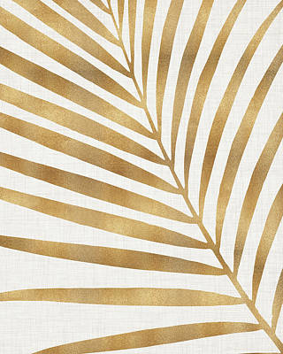 Kristian Gallagher Royalty-Free and Rights-Managed Images - Metallic Gold Palm Leaf by Kristian Gallagher