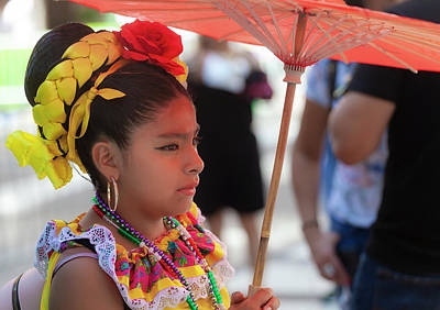 Photograph - Mexican Day Parade Nyc 9_16_2018 Girl With Parasol by Robert Ullmann