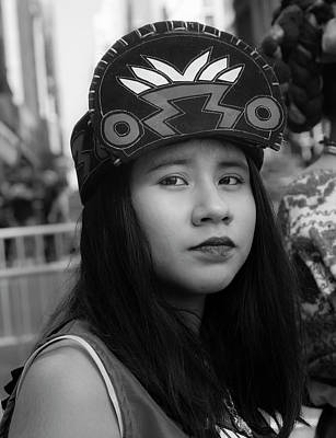 Photograph - Mexican Day Parade Nyc 9_16_2018 Teenage Girl In Traditional Dre by Robert Ullmann