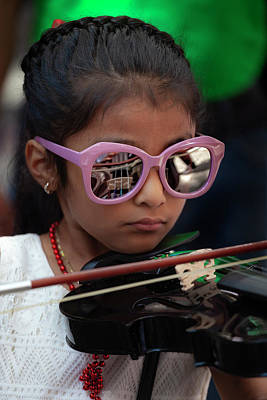 Photograph - Mexican Day Parade Nyc 9_16_2018 Young Girl Playing Violin by Robert Ullmann