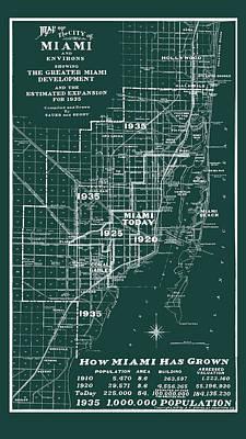 Photograph - Miami 1935 Map by Carlos Diaz