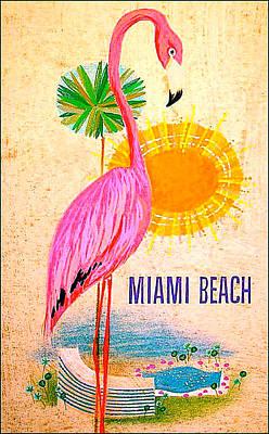 Flamingo Hotel Wall Art - Digital Art - Miami Beach by Long Shot