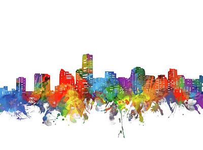Miami Skyline Wall Art - Digital Art - Miami City Skyline Watercolor by Bekim Art