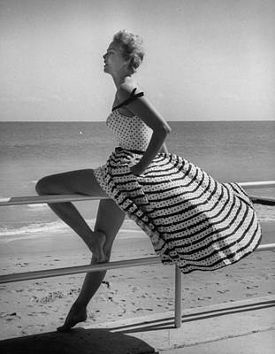 Photograph - Miami Fashions, Model In Suitable Settin by Nina Leen