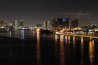 Photograph - Miami Lights At Night by Debbie Ann Powell