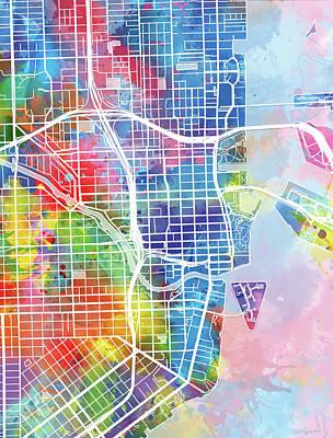 Map Of Watercolor Florida.Florida Map Digital Art Fine Art America
