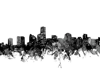 Abstract Skyline Royalty-Free and Rights-Managed Images - Miami Skyline Bw by Bekim M