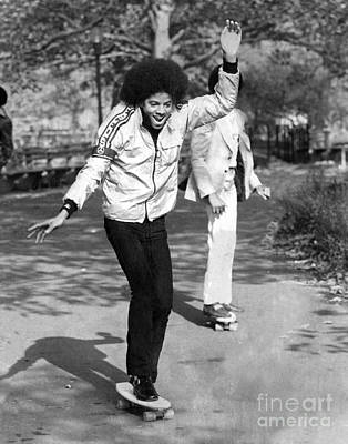 Photograph - Michael Jackson With Skateboard In by New York Daily News Archive