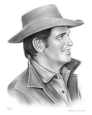 Drawings - Michael Landon by Greg Joens