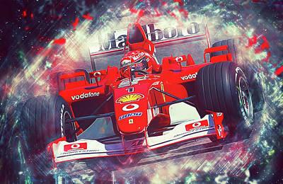Painting - Michael Schumacher, Ferrari - 22 by Andrea Mazzocchetti