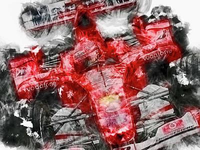 Painting - Michael Schumacher, Ferrari - 23 by Andrea Mazzocchetti