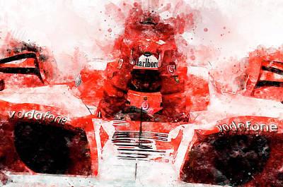 Painting - Michael Schumacher, Ferrari - 25 by Andrea Mazzocchetti