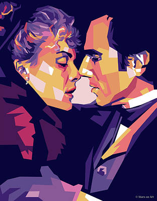 Digital Art Royalty Free Images - Michelle Pfeiffer and Daniel Day-Lewis Royalty-Free Image by Stars on Art