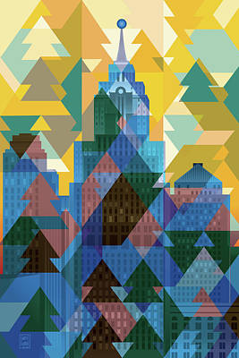 Abstract Skyline Digital Art Rights Managed Images - Detroit December Morning Royalty-Free Image by Garth Glazier