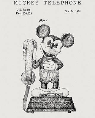 Drawing - Mickey Mouse Telephone by Dan Sproul