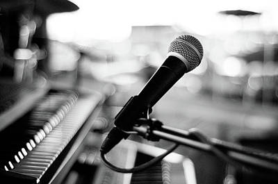 Piano Wall Art - Photograph - Microphone On Empty Stage by Image By Randymsantaana