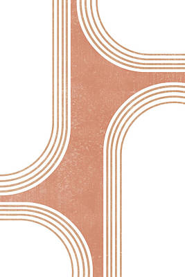 Mixed Media Rights Managed Images - Mid Century Modern 3 - Geometrical Abstract - Minimal Print - Terracotta Abstract - Burnt Sienna Royalty-Free Image by Studio Grafiikka