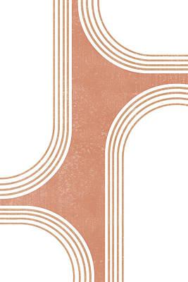 Mixed Media Royalty Free Images - Mid Century Modern 3 - Geometrical Abstract - Minimal Print - Terracotta Abstract - Burnt Sienna Royalty-Free Image by Studio Grafiikka