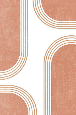 Royalty-Free and Rights-Managed Images - Mid Century Modern 4 - Geometrical Abstract - Minimal Print - Terracotta Abstract - Burnt Sienna by Studio Grafiikka