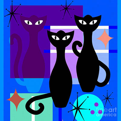 Digital Art - Mid Century Modern Abstract Mcm Bowling Alley Cats 20190113 Square M180 by Wingsdomain Art and Photography