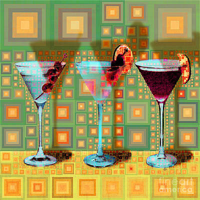 Digital Art - Mid Century Modern Abstract Mcm Three Martinis Shaken Not Stirred 20190127 V1 Square by Wingsdomain Art and Photography