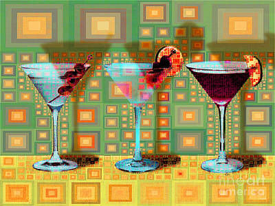 Digital Art - Mid Century Modern Abstract Mcm Three Martinis Shaken Not Stirred 20190127 V1a by Wingsdomain Art and Photography