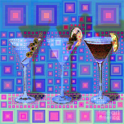 Digital Art - Mid Century Modern Abstract Mcm Three Martinis Shaken Not Stirred 20190127 V2 Square by Wingsdomain Art and Photography
