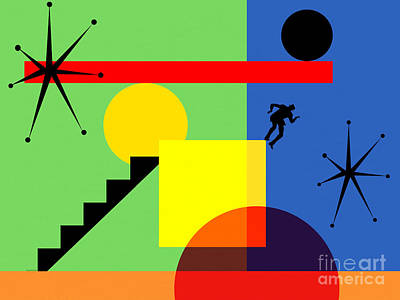 Digital Art - Mid Century Modern Abstract Over The Edge 20190106 Horizontal by Wingsdomain Art and Photography