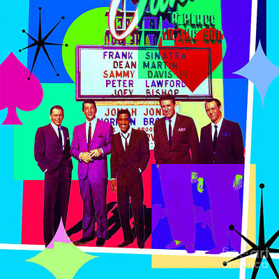 Digital Art - Mid Century Modern Abstract The Rat Pack Frank Sinatra Dean Martin Sammy Davis Jr 20190120 Sq P160 by Wingsdomain Art and Photography