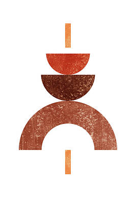 Mixed Media Rights Managed Images - Mid Century Modern Geometric Abstract 1 - Minimal Print - Terracotta Abstract - Brown Royalty-Free Image by Studio Grafiikka