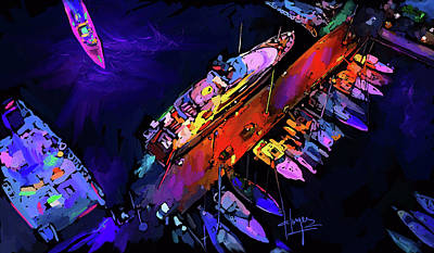 Painting - Midnight Harbour by DC Langer