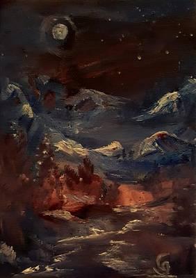 Painting - Midnight Mountains       Ap11 by Cheryl Nancy Ann Gordon