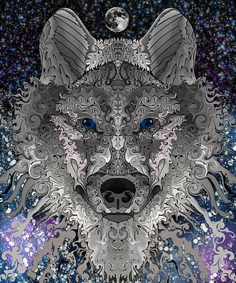 Digital Art - Midnight Wolf by Mark Taylor