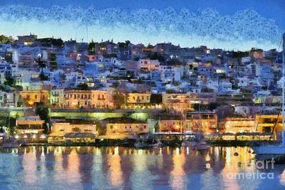 Painting - Mikrolimano Port By Dusk Time by George Atsametakis