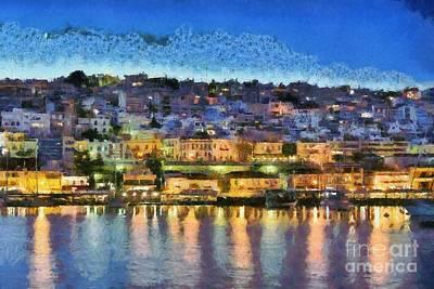 Painting - Mikrolimano Port By Dusk Time II by George Atsametakis