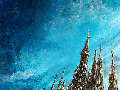 Digital Art - Milan Cathedral Spires Bright by Andrea Gatti