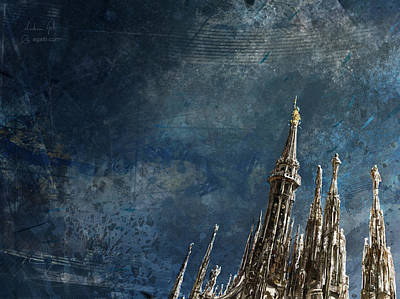 Digital Art - Milan Cathedral Spires Dark by Andrea Gatti