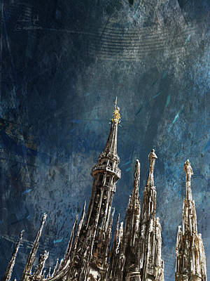 Digital Art - Milan Cathedral Vertical Dark by Andrea Gatti