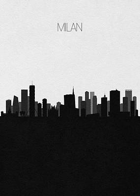 Digital Art - Milan Cityscape Art by Inspirowl Design