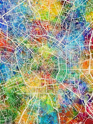 Milan Wall Art - Digital Art - Milan Italy City Map by Michael Tompsett