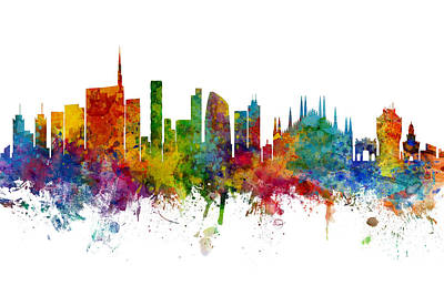 Digital Art - Milan Italy Skyline Inc Duomo by Michael Tompsett