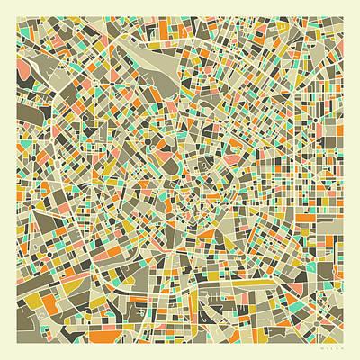 Milan Wall Art - Digital Art - Milan Map 1 by Jazzberry Blue