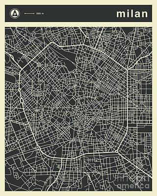 Milan Wall Art - Digital Art - Milan Map 3 by Jazzberry Blue