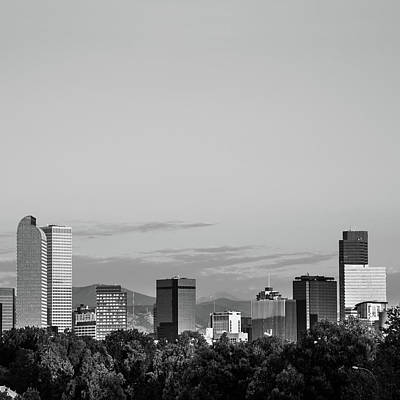 Photograph - Mile High Architecture - Denver Skyline In Black And White by Gregory Ballos