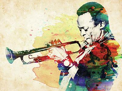 Jazz Royalty Free Images - Miles Davis colorful watercolor Royalty-Free Image by Mihaela Pater