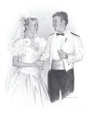 Drawing - Military Groom And Bride by Mike Theuer