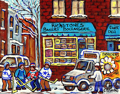 Painting - Milk Delivery Richstone Bakery Montreal Deli Art Boulangerie Winterscene Hockey Paintings C Spandau  by Carole Spandau